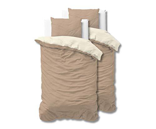 SLEEP TIME 100% Baumwolle Bettwäsche 135cm x 200cm 4teilig Beige/Taupe - weich & bügelfrei Bettbezüge mit Reißverschluss - zweifarbiges Bettwäsche Set mit 2 Kissenbezüge 80cm x 80cm