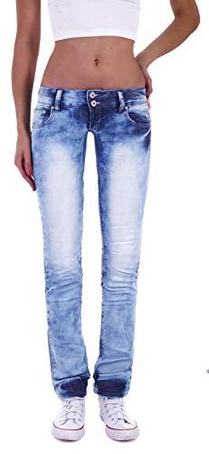 Damen Jeans Gerader Schnitt Straight Leg Hüftjeans Low Waist Blau Batik Damen-Hose-n Jeans-Hose-n Hüft-Hose-n Niedrige-r Leib-Höhe Bund Stretchjeans Stretch-Hose-n Denim Hell-blau-e Gr Größe XS 34