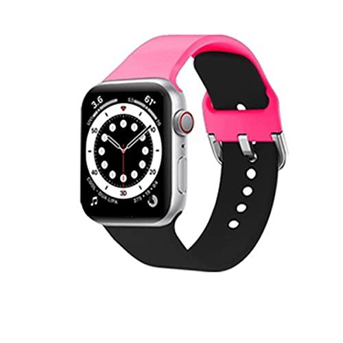 Voshion Cool DIY - Correa de silicona para Apple Watch 40 mm, 44 mm, 38 mm, 42 mm, pulsera deportiva, iWatch serie 3, 4, 5, 6 SE (42 mm o 44 mm, ML,3 rosa rojo+negro)