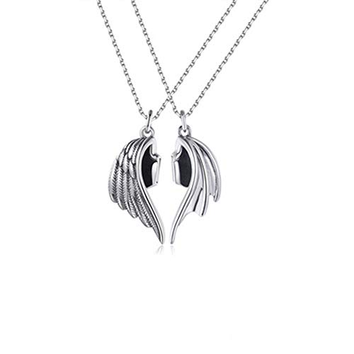 Magnets attract couples with leather clavicle chains, his angel her demon couple bar pendant necklace, angel and devil wing couple necklaces give him and her spouse closer relationship (C)
