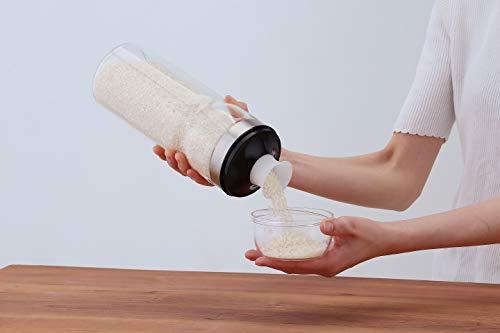 富士商 Felio 密閉 パッキン ガラス 米びつ ライスキープ ボトル 軽量カップ 付き (冷蔵庫 サイドポケット サイズ) 0695