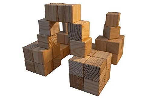 Jeu de 48 cubes en bois 5 cm pour constructions inventives (châteaux, tours, pyramides), fabriqué en France (Jura), bois français