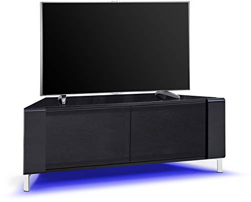 """MDA Designs CORVUS Corner-Friendly Gloss Black Contemporary Cabinet with Black Side Profiles Black BeamThru Glass Doors Suitable for Flat Screen TVs upto 50"""" with 16 Colour LED Lights"""