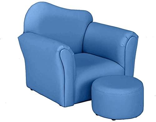 YONGJUN SillóN Infantil Espuma Sillón para niños de Cuero de PVC Individual Sofá para niños pequeños y sofá con Relleno de Esponja Suave para niños para niños y Regalo de niñas -Blue