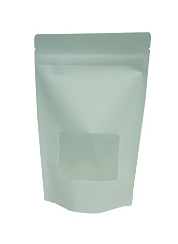 Affordable 8 oz. White Kraft Paper/Poly Stand Up Zip Pouch w/ Window (Coffee Packaging, Tea Packagin...