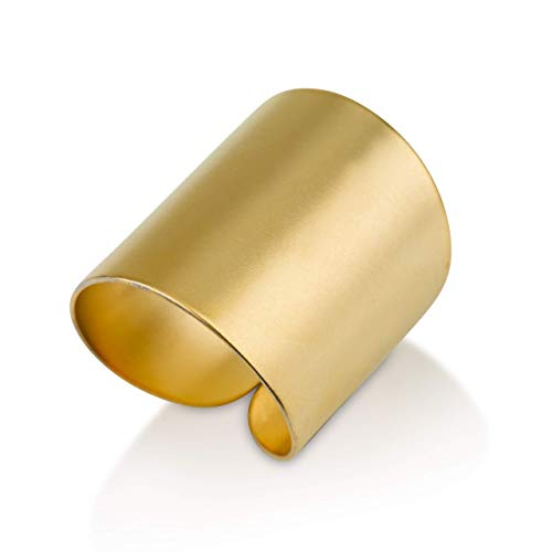 Modern Statement Gold Rings for Women and Girls, Adjustable Wide Cuff Ring Wrap Open Ring