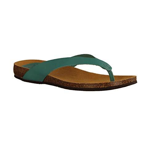 Scholl Tistois Turquoise (blaugrün) - Damenschuhe Pantolette/Zehentrenner, Blau, Leder