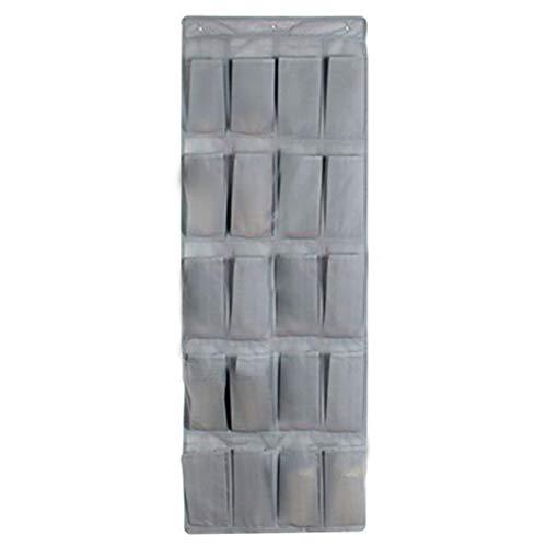 EMFGJ Organizador de zapatos para puerta con 20 bolsillos de tela, para armario, plegable, para dormitorio, baño, armario, color gris
