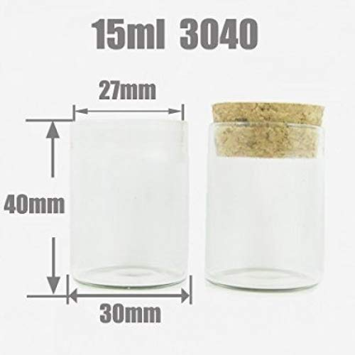 Botella de cristal transparente de Kerry Anagela naturales del corcho 15 ml de borosilicato tubo de ensayo 3040 15 ml transparente, transparente, 15 ml