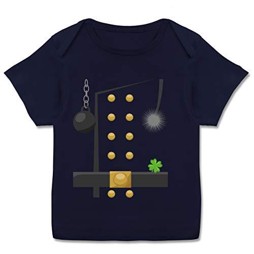 Karneval und Fasching Baby - Schornsteinfeger Kostüm - 68-74 - Navy Blau - Geschenk - E110B - Kurzarm Baby-Shirt für Jungen und Mädchen