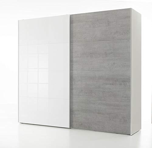 COMPOSAD Armadio 2 Ante Scorrevoli Bianco Laccato e Cemento 257x236,4 cm