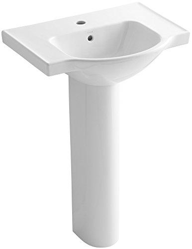 KOHLER K-5266-1-0 Veer Pedestal Bathroom Sink with Single Faucet Hole, 24-Inch, White