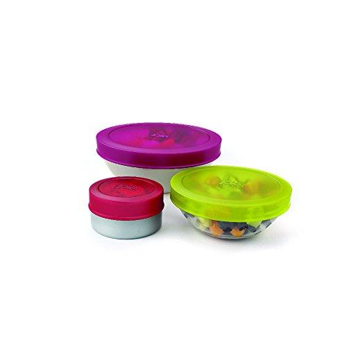 Joie Kitchen Gadgets MS-35066 Harold Import Co. Joie Lot de 3 couvercles alimentaires réutilisables en silicone, Coloris Assortis