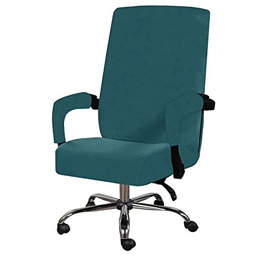 Velvet Office Chair Covers, Stretch Computer Office Chair Covers Rotating Chair Slipcovers Elastic Desk Chair Covers with Arm Covers Removable Washable-Teal-Large