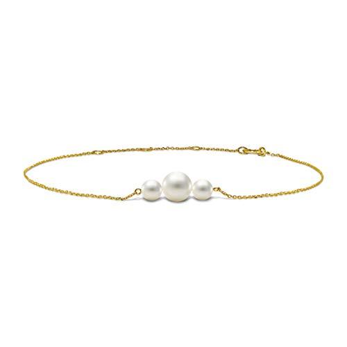Miore Pulsera de oro amarillo 585 de 14 quilates con 3 perlas blancas de agua dulce para mujer, longitud 220 mm