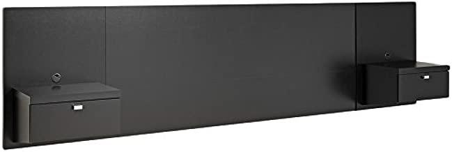 Prepac Series 9 Designer Floating Headboard with Nightstands, Queen, Black