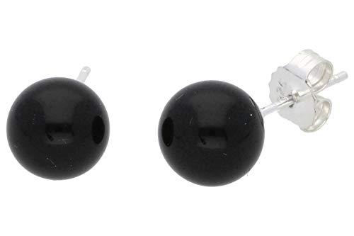 Onyx Schmuck (Ohrringe) Onyx Ohrstecker Onyx Kugeln Größe ca. 8 mm 925er Sterling-Silber Modellnummer 4263