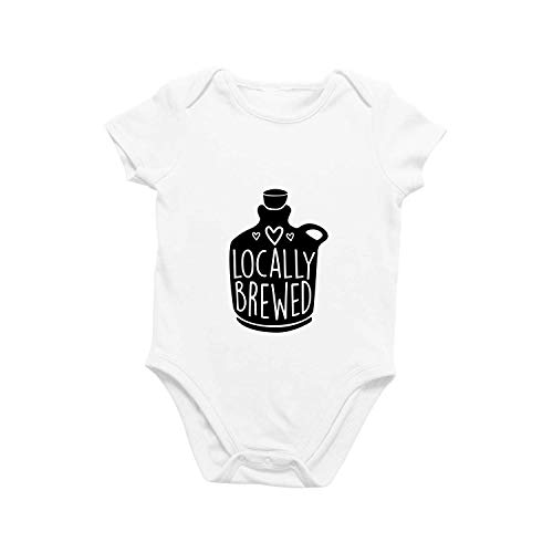 Onesie Organic Baby One Piece Short Sleeve Trendy Cute Funny Minimal Bodysuit 0-12 Months - Locally Brewed (3-6 Months) White