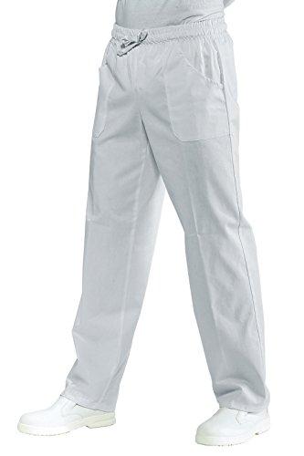 Isacco - Pantalón con elástico blanco, 4XL, 100% algodón, 190 gr/m2