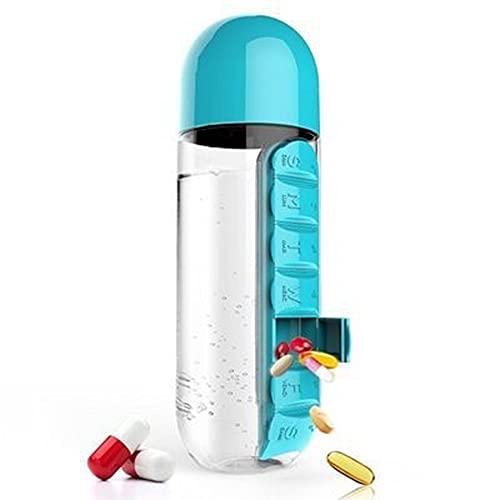 Mask.ok Borraccia bottiglia plastica 2in1 portapillole contenitore integrato giornaliero organizer porta acqua succo bevande camping BPA free per anziani persone speciali (Azzurra)