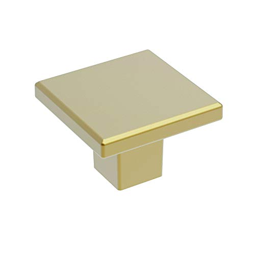 Basics Collection Knob 1-3/16 Inch Square Brushed Brass Finish (10-Pack)