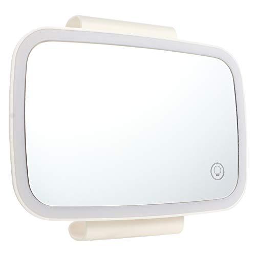 Wakauto Espejo de Visera de Coche Espejo de Maquillaje de Coche con Luces LED Visera de Sol Espejo de Vanidad con Pantalla Táctil Espejo de Maquillaje de Coche Espejo de Alta Definición