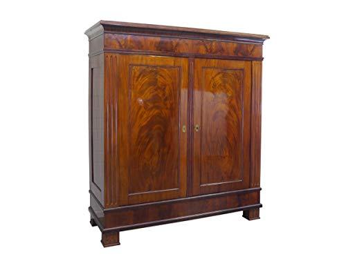 Antik Kleiderschrank Dielenschrank Schrank Biedermeier Mahagoni B:192cm (9136)