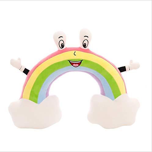 Cartoon knuffel, creatieve halshoofdkussen regenboog meisje U-vormige kussen naar beneden katoen pluche toy auto lunchpauze kussen 50x40cm Huangwei7210