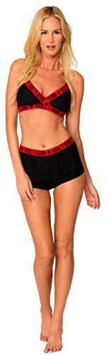 Dc Comics Harley Quinn Underwire High Waist and Shorts Bikini Set HA4598 (l) Black