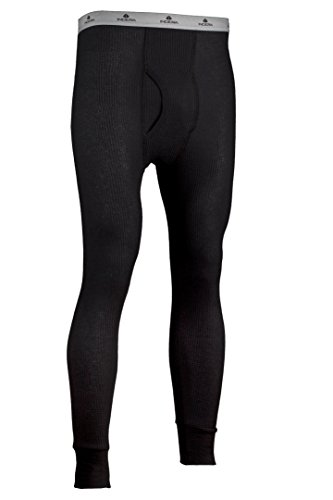 Indera Men's Traditional Long Johns Thermal Underwear Pant, Black, Large