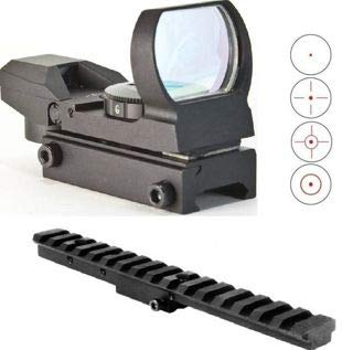 GOTICAL 4 Reticle Red Open Reflex Sight with Weaver-Picatinny Rail Mount + Tactical Mosin Nagant Rifle Scope Sight Mount Rail