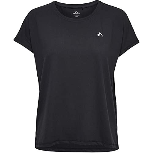ONLY Damen Onpaubree Ss Loose Tr Tee Curvy-Opus Sporttop, Schwarz (Black Black), 48 (Herstellergröße: 48/50)