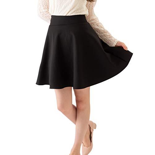 Eiza フレアスカート ミニ aライン インナー 付き ハイウエスト ミニスカート e189 (ブラック, L)