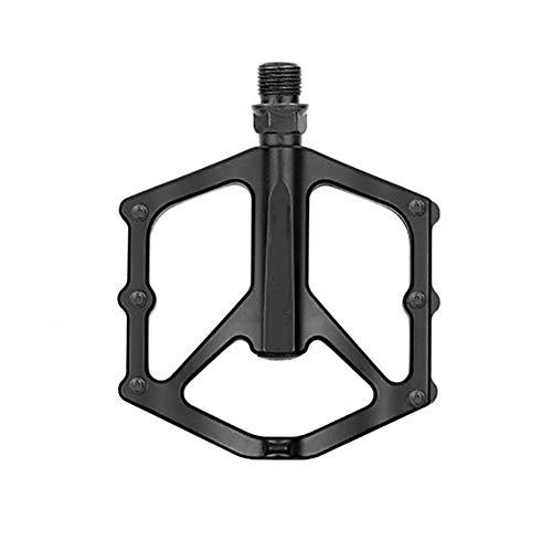 MTB plana pedal de montaña bicicleta de carretera Pedales Ultraligero aleación del CNC antideslizante 14 mm Eje de descenso Rodamientos Du Sistema de pedales de la bicicleta Durable ( Color : Black )