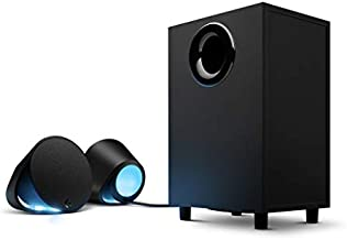 Logitech G560 PC Gaming Speaker System with 7.1 DTS:X Ultra Surround Sound, Game based LIGHTSYNC RGB, Two Speakers and Subwoofer, Immersive Gaming Experience - Black