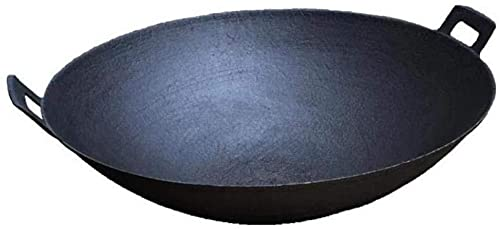 BERTY·PUYI Wok da Cucina, Wok Professionale in Ferro, Padella Antiaderente A Gas, Padella Antiaderente Non Rivestita con Manici Larghi, Wok da Cuoco 34/36 Cm-34 Cm