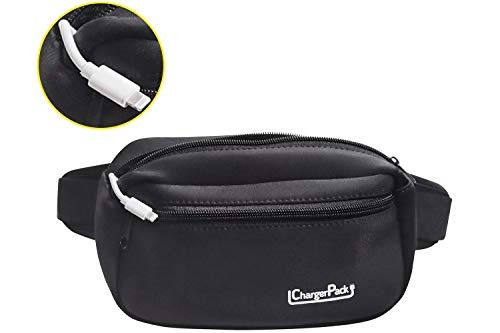 ChargerPack Fanny Pack Waterproof with Charging Cord for iphone 12 X Galaxy S10 Black Men & Women Travel Hiking Waist Bag Cross Sling Hip Workout Packs Tactical Fashion Rave Festival Camping