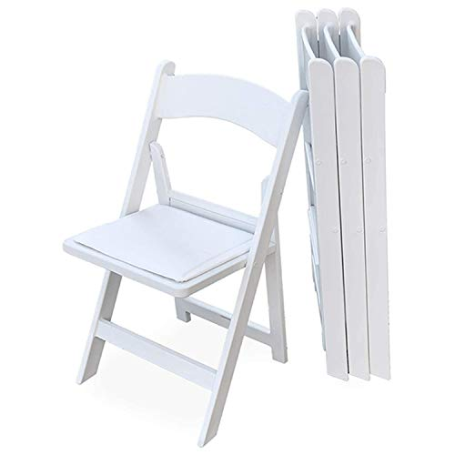 EventStable Titan PRO Resin Folding Chair - White Indoor/Outdoor Lightweight Folding Chair - Vinyl Padded Folding Chair for Weddings Parties Events - 50 Pack