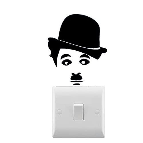 Calcomanía de pared Chaplin inspirada pequeña pegatina para interruptor de luz vinilo extraíble artista lámpara de casa con calcomanía decorativa 8X7 cm