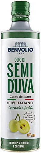 BENVOLIO 1938 Aceite de Semilla de Uva Prensado en Frío - 750ml - Aceite Para Cocinar 100% Italiano Rico en Vitamina E Aceite de Uva Para la Cara Aceite Corporal Aceites Para Masajes Grapeseed oil