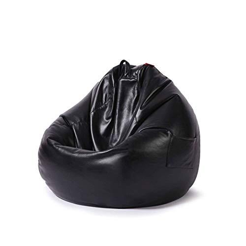 Housse De Chaise Poire pour Adulte Enfant(sans Remplissage), Imperméable Faux Cuir Pouf Housse De Canapé Fermeture éclair Robuste Pouf Housse-Noir-80x90cm(28x35in)