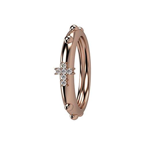 Anello rosario Nardelli Gioielli, Fashion e Spiritual, oro rosso 18kt, diamanti bianchi per 0,03KT totali, certificati
