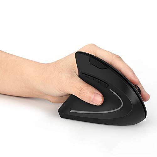 Ratón inalámbrico ergonómico Jelly Comb para zurdos, ratón inalámbrico vertical con receptor USB DPI 800 1200 1600 para portátiles, PC, Macbook, negro.