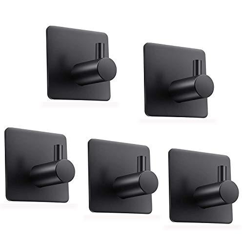 Self Adhesive Hooks, 5Pack Black Sticky Hooks, Stainless Adhesive Door Hooks, Coat Hooks, Anti-Rust Waterproof Sticky Hooks for Kitchens, Bathroom, Bedroom, Office,Toilet, No Drill Glue Needed