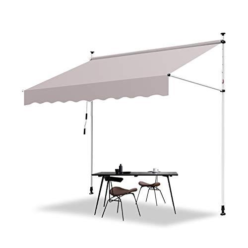 Hengda 200 x 120 cm Markise Einziehbar Klemmmarkise Balkonmarkise Sonnenschutz ohne Bohren Höhenverstellbar