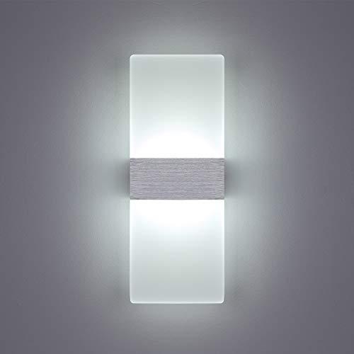 Yafido Aplique Pared Interior LED Yafido Blanco Frio Lámpara de pared Moderna 12W AC 220V plata cepillado para Salon Dormitorio Sala Pasillo Escalera