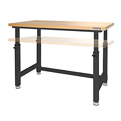 Seville Classics UltraHD Height Adjustable 4-Foot Heavy-Duty Wood Top Workbench Table, Satin Graphite from Seville Classics