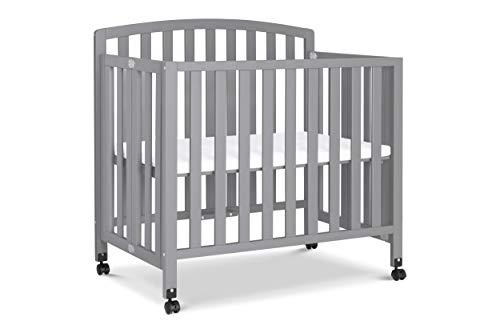 DaVinci Dylan Folding Portable 3-in-1 Mini Crib and Twin Bed in Grey, Greenguard Gold Certified