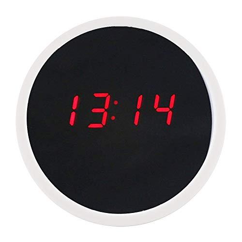 XINR Reloj despertador moderno con espejo digital y superficie de escritorio con pantalla de 24 horas para niñas, adolescentes y niños (blanco)