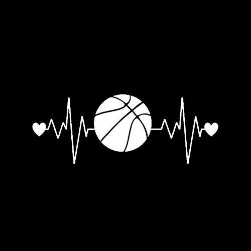 Owenqian Personalizada Coches Stickers, 16,2 X 6,2 CM Interesante Latido del corazón Baloncesto Etiqueta engomada del Coche Decoración PVC